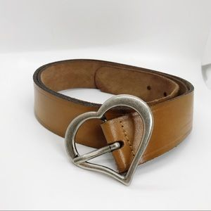 Accessories - Leather Silver Heart Buckle Brown Leather Belt